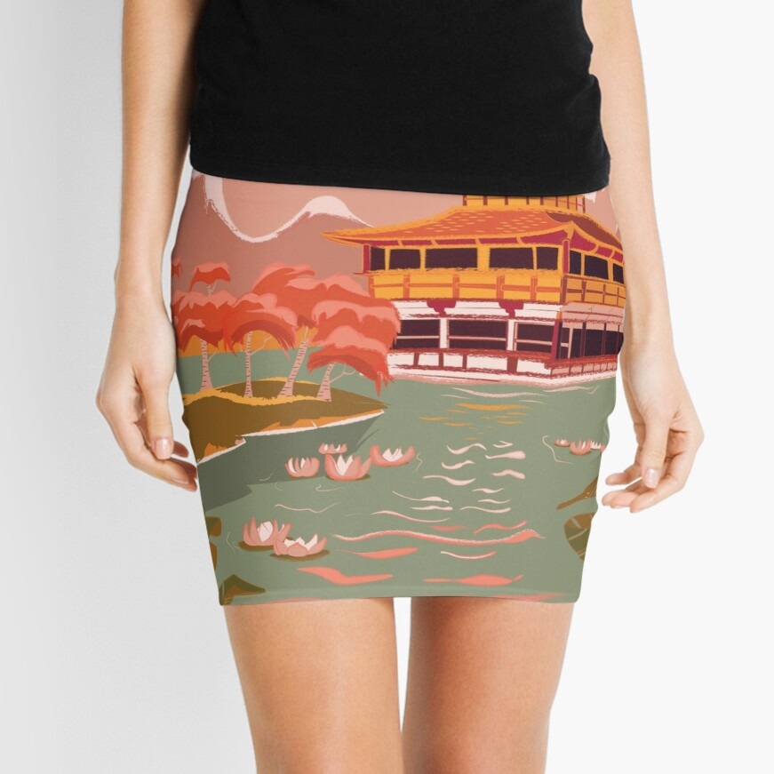 Kyoto Golden Pagoda  Mini Skirt