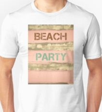BEACH PARTY written on vintage painted wooden wall Unisex T-Shirt