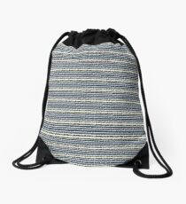 Navy Blue Floral Ribbon Pattern Drawstring Bag