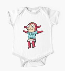 Morty Jr from Rick and Morty™ wearing 'and that's how we play handy hands' quote t-shirt Short Sleeve Baby One-Piece