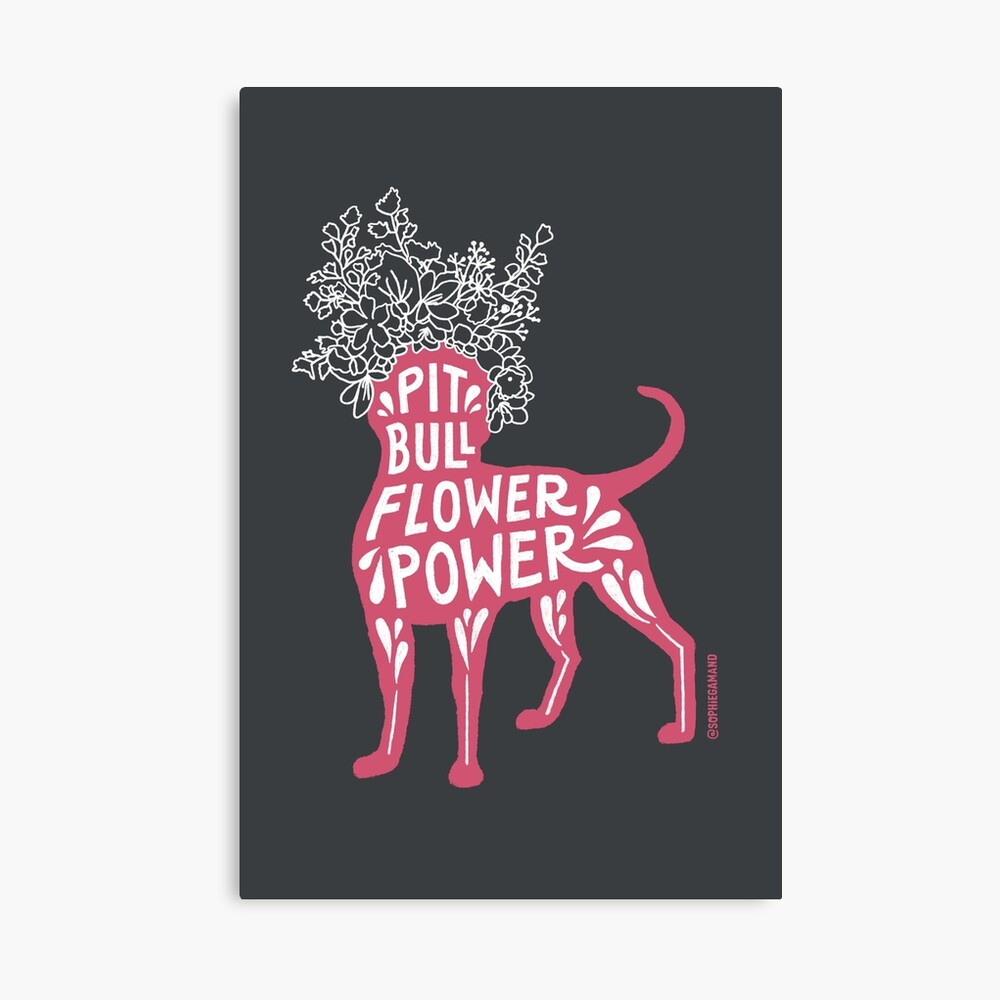 Pit Bull Flower Power (pink) Canvas Print