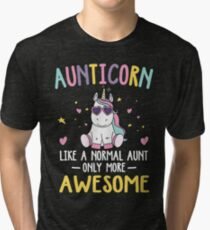 Aunticorn Like a Normal Aunt Only More Awesome Unicorn Aunt Funny Tri-blend T-Shirt