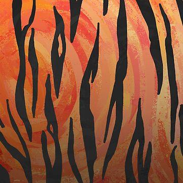 Tiger Hot orange and Black Print de ImagineThatNYC