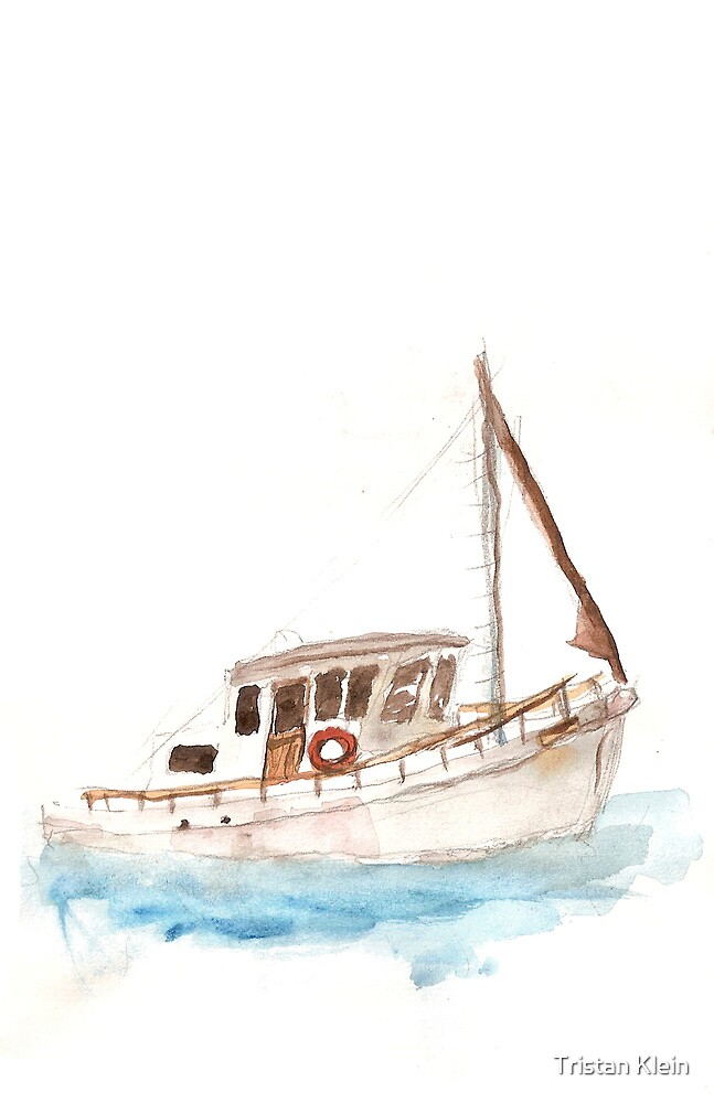 boat watercolour by Tristan Klein