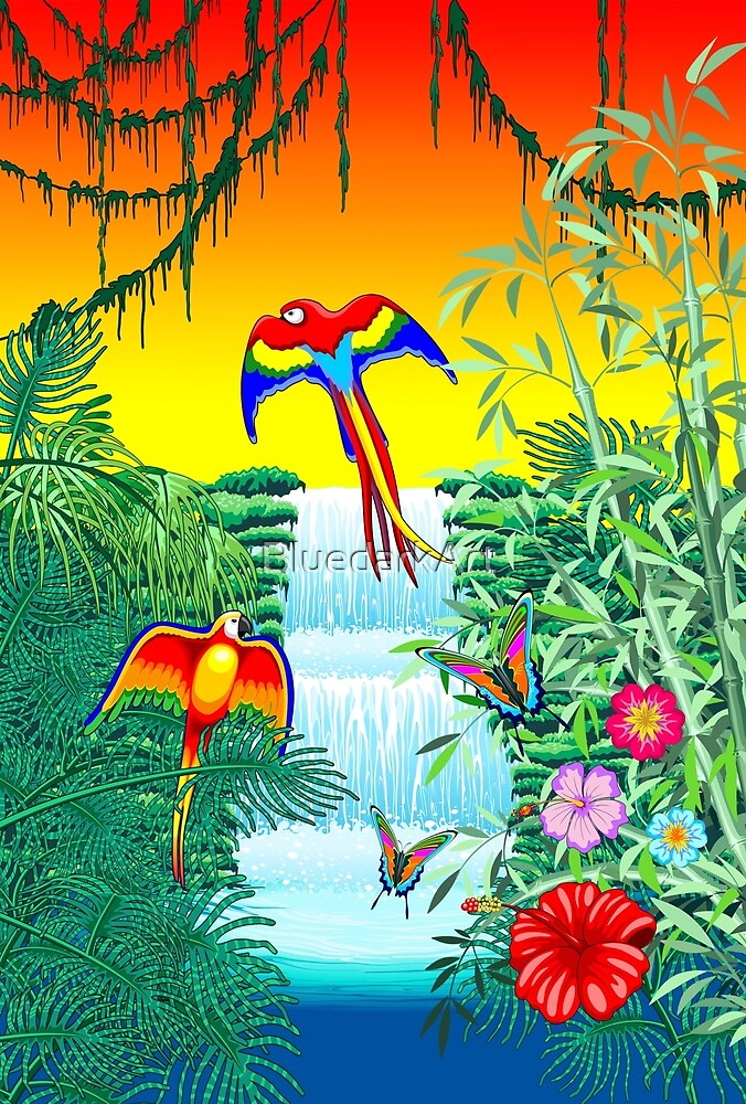 Waterfall Macaws and Butterflies on Exotic Landscape in the Jungle by BluedarkArt