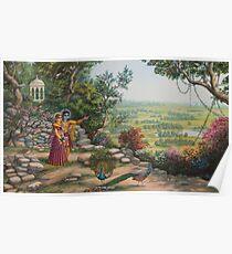 Radha and Krishna on Govardhan hill Poster