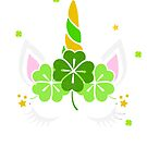 Green St. Patrick's Day Unicorn Four Clovers Face by 686884915