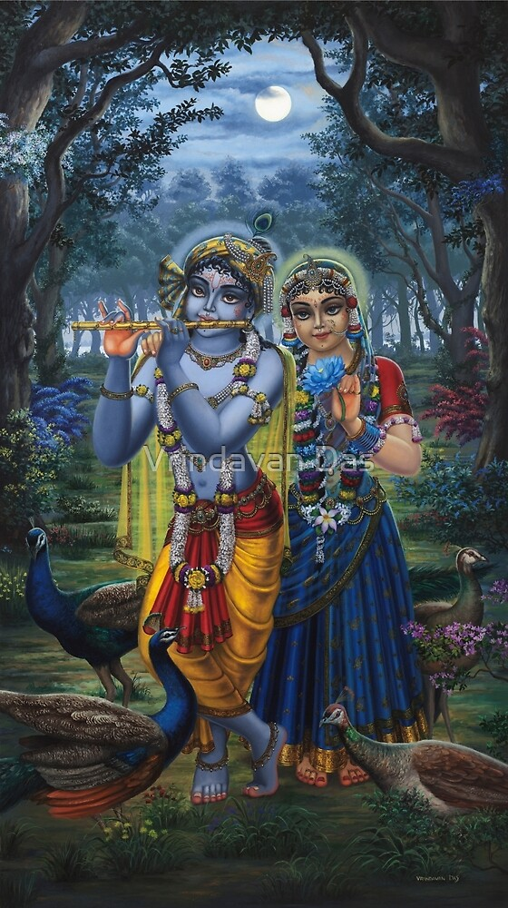 Radha and Krishna on full moon by Vrindavan Das