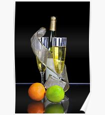 Two champagne glasses and bottle Poster