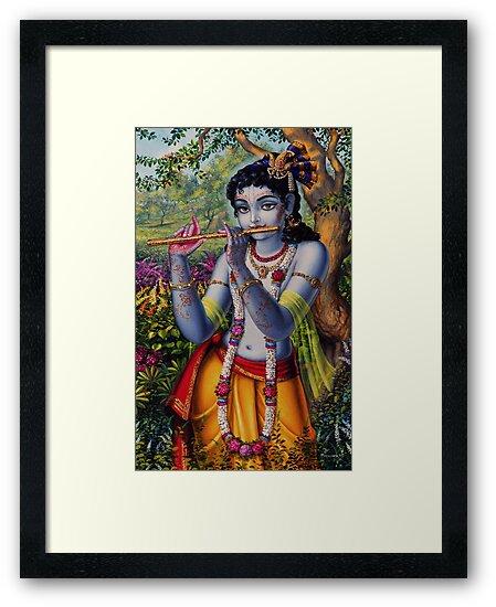 Krishna with flute by Vrindavan Das