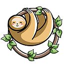 Kawaii Cute Sloth Circle by Fiona Reeves