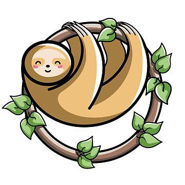 Kawaii Cute Sloth Circle by freeves