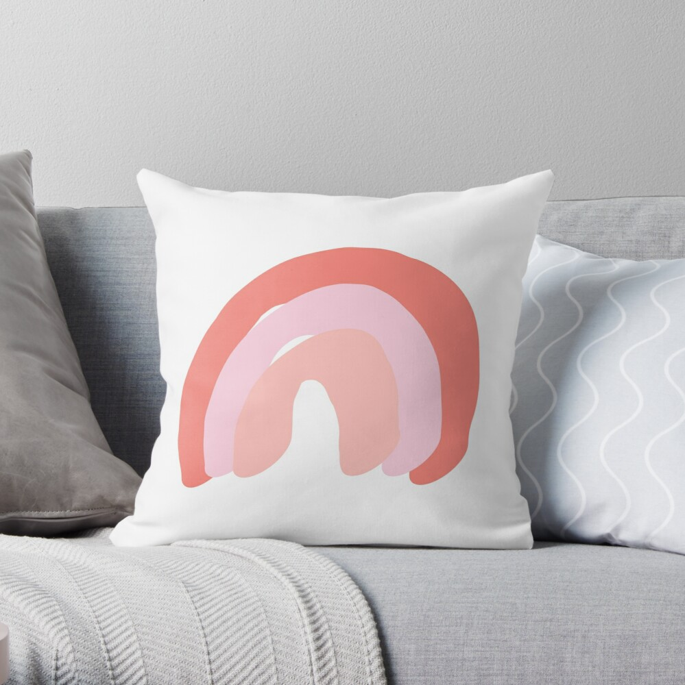 Soft Rainbow Throw Pillow