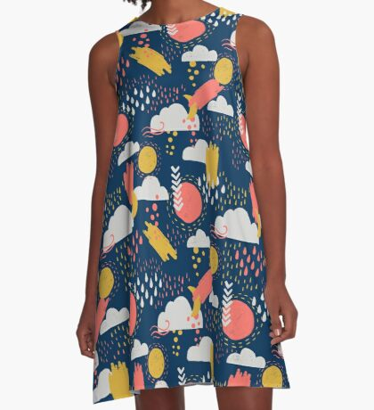 Abstract Weather - Coral + Midnight Blue A-Line Dress