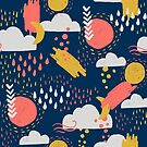Abstract Weather - Coral + Midnight Blue by latheandquill