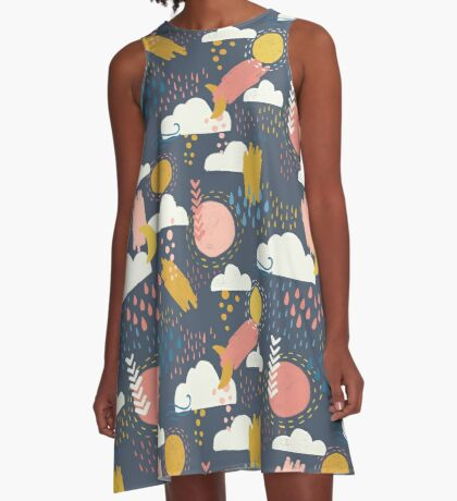 Abstract Weather - Coral + Blue A-Line Dress