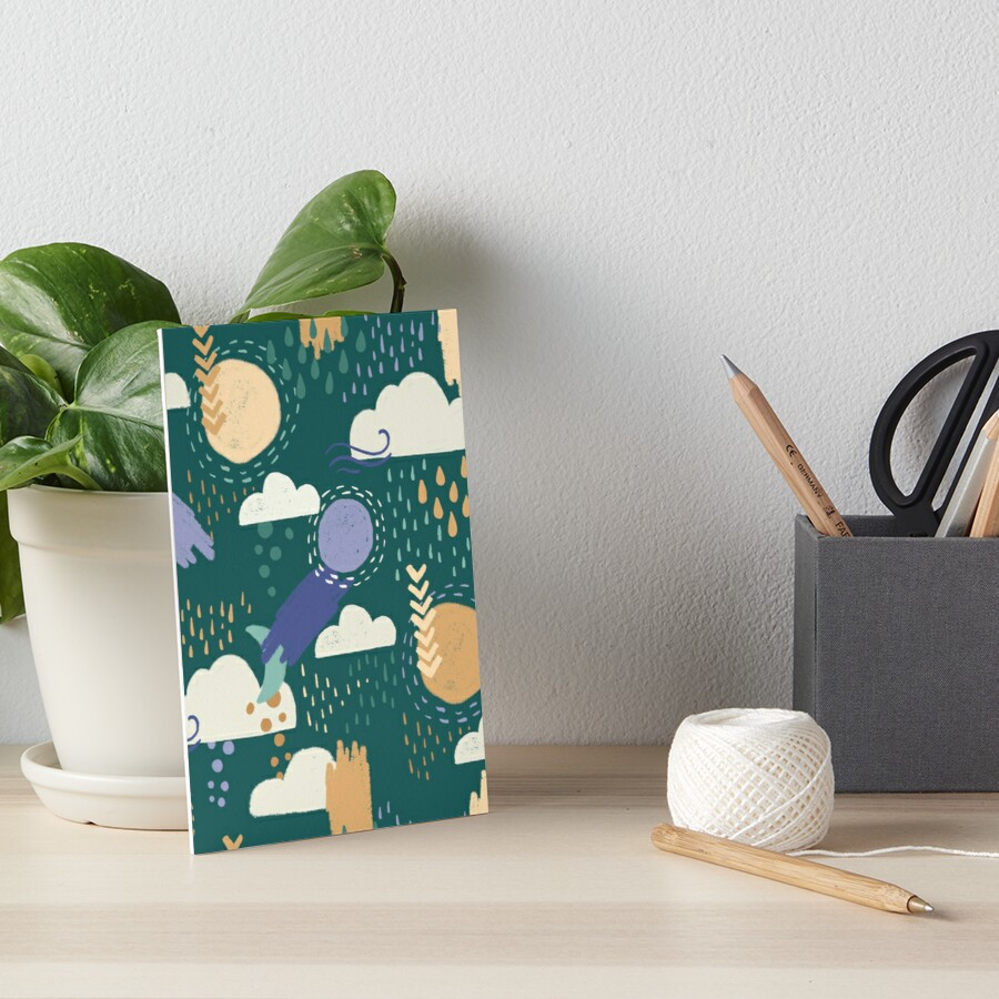 Abstract Weather - Teal Art Board Print