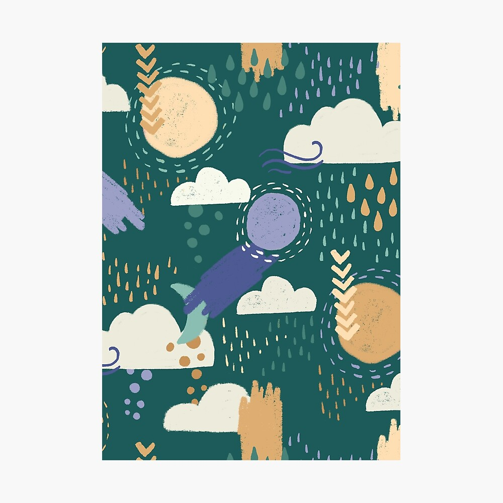 Abstract Weather - Teal Photographic Print