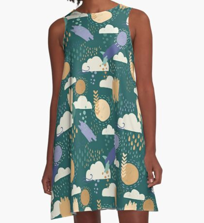 Abstract Weather - Teal A-Line Dress