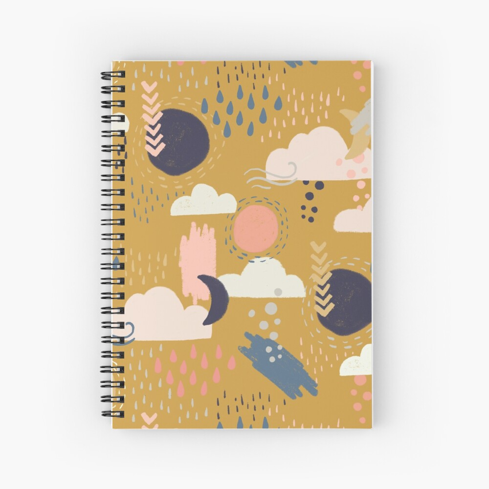 Abstract Weather - Gold Spiral Notebook