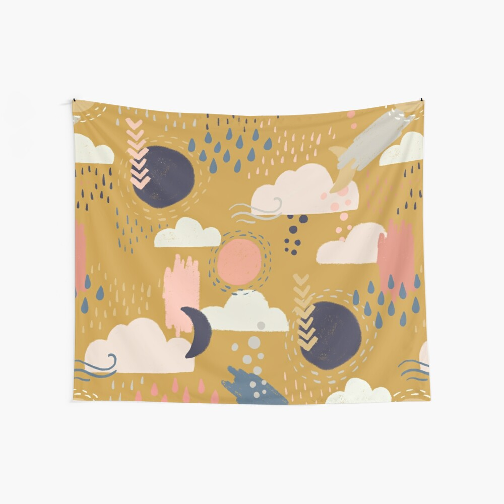 Abstract Weather - Gold Wall Tapestry