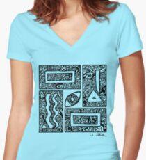 Eye, Square, Triangle (black design) Women's Fitted V-Neck T-Shirt