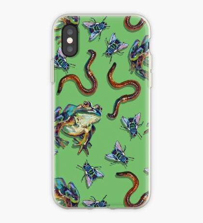 Creepy Crawly Frogs and Flies and Worms iPhone Case