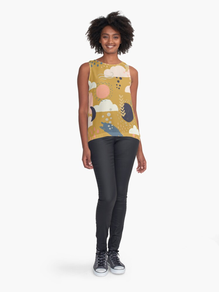 Alternate view of Abstract Weather - Gold Sleeveless Top