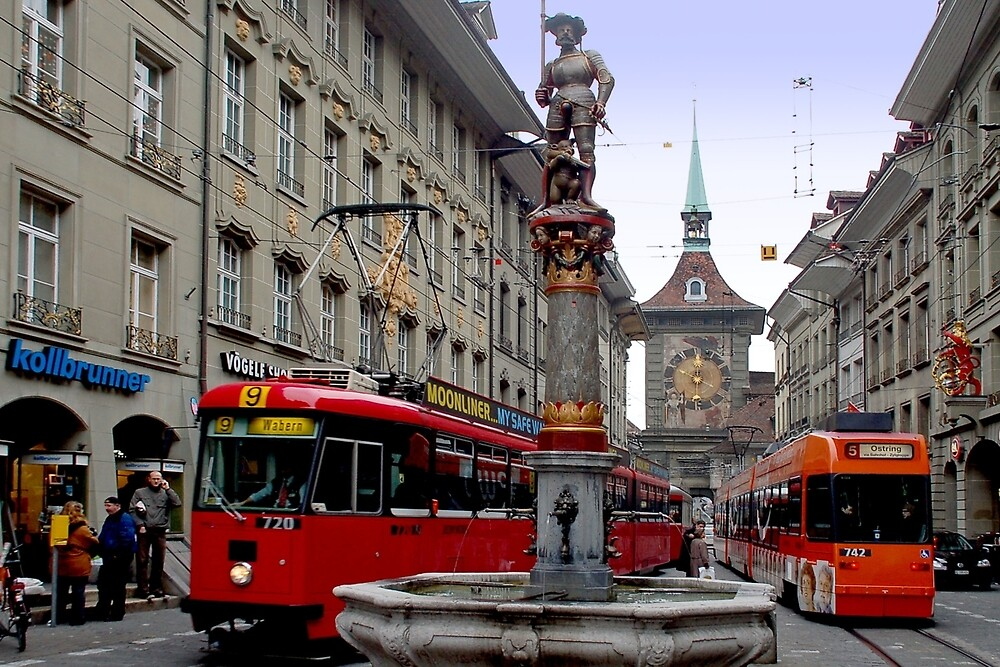Trams in Bern - Switzerland by Arie Koene