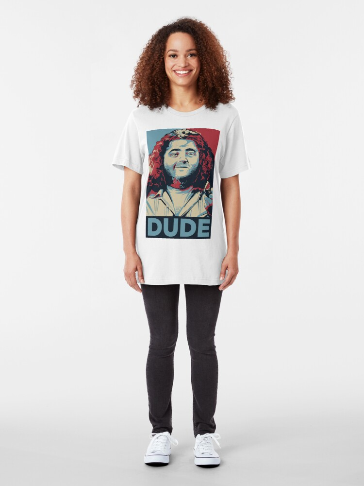 Alternate view of DUDE, It's Hurley Reyes from the TV show LOST Slim Fit T-Shirt