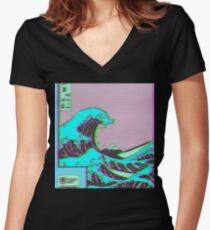 Camiseta entallada de cuello en V La gran ola de Vaporwave Kanagawa
