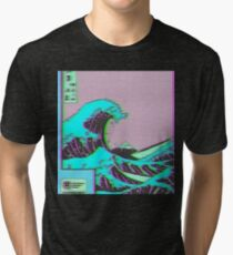 The Great Wave off Vaporwave Kanagawa Tri-blend T-Shirt