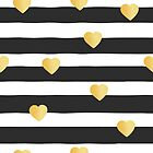 Seamless pattern black and white stripes gold foil hearts by Sandra Hutter