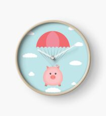 Baby Pig in a Parachute Clock