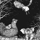 Farm animals - first flight, hen, chicks and piggy, dark colored background by martasketches