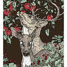 Forest friends - doe and deer, art nouveau style by martasketches