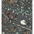 Forest friends - squirrel and bird, art nouveau style by martasketches