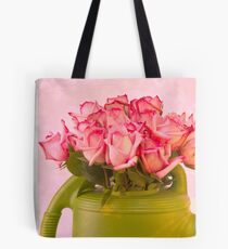 Pink Roses In Green Watering Can Tote Bag