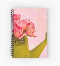 Pink Roses In Green Watering Can Spiral Notebook