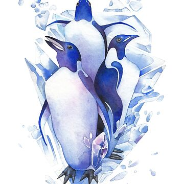 Three watercolor penguins surrounded by cracking ice blocks. by Glazkova