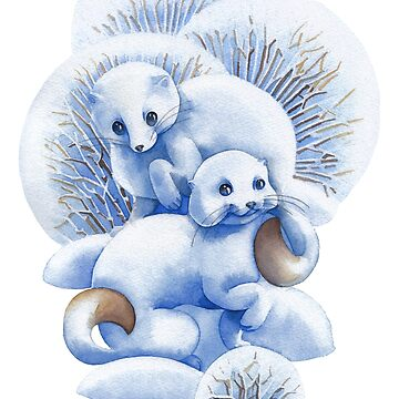 Two cute watercolor stoats surrounded by bushes and snow drifts by Glazkova