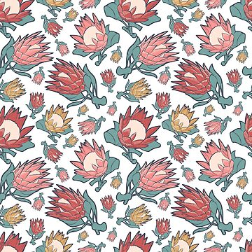 Beautiful Australian Native Floral Pattern - King Protea by annaleebeer