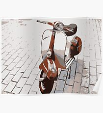 Vespa Scooter in Brown Poster