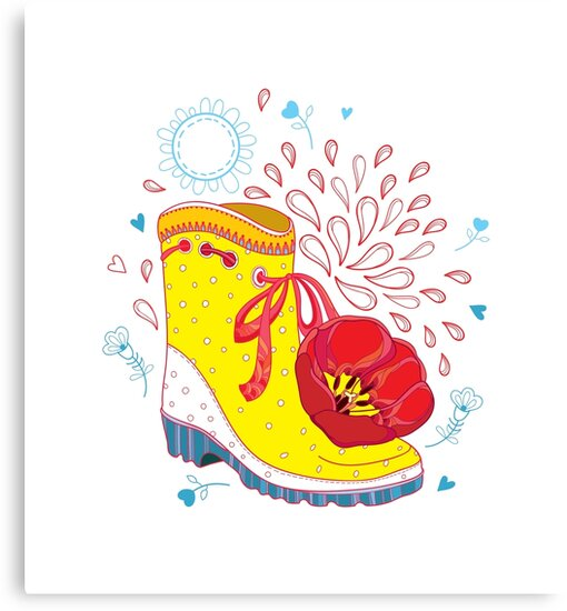 Gumboots Set With Grass And Flowers Clipart   k46067224   Fotosearch