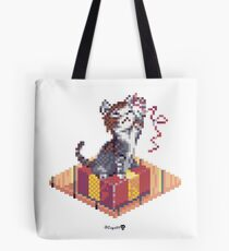 Kitten playing with Ribbon - Present Cube Tote Bag