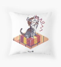 Kitten playing with Ribbon - Present Cube Throw Pillow