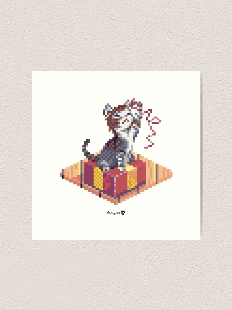 Alternate view of Kitten playing with Ribbon - Present Cube Art Print