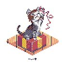 Kitten playing with Ribbon - Present Cube by Zugai