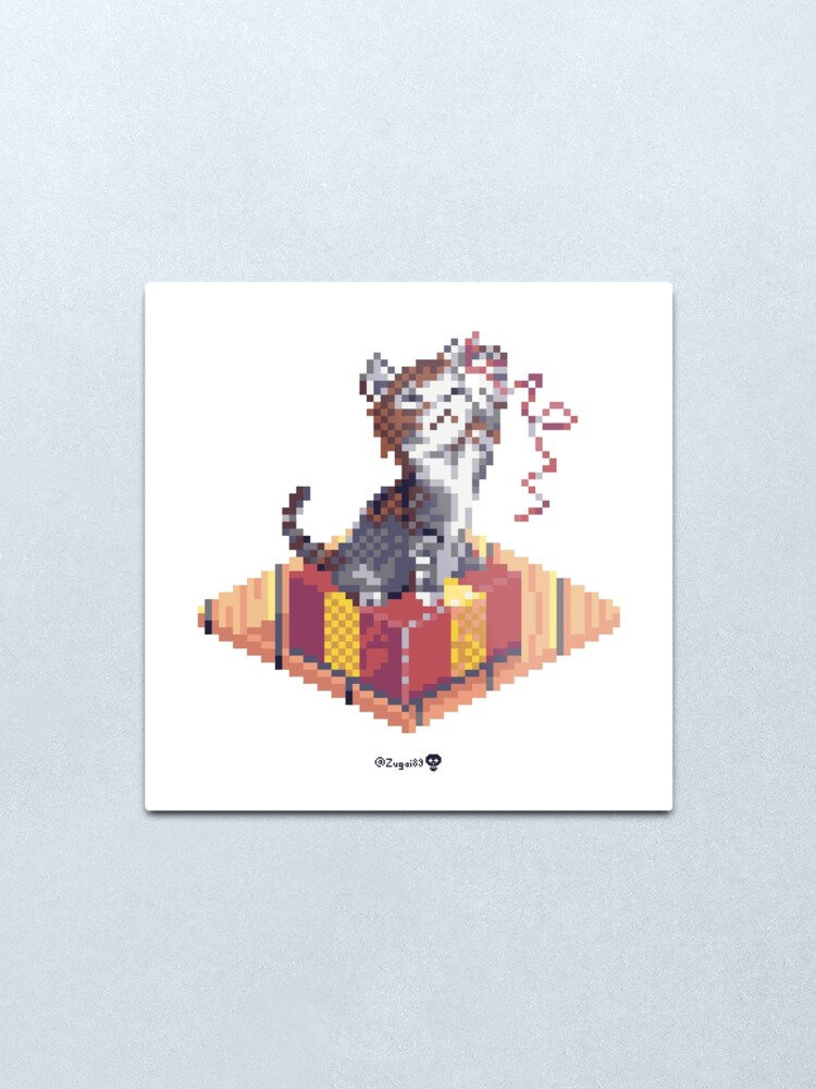 Alternate view of Kitten playing with Ribbon - Present Cube Metal Print