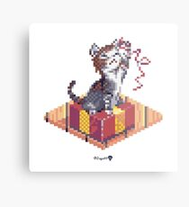Kitten playing with Ribbon - Present Cube Metal Print